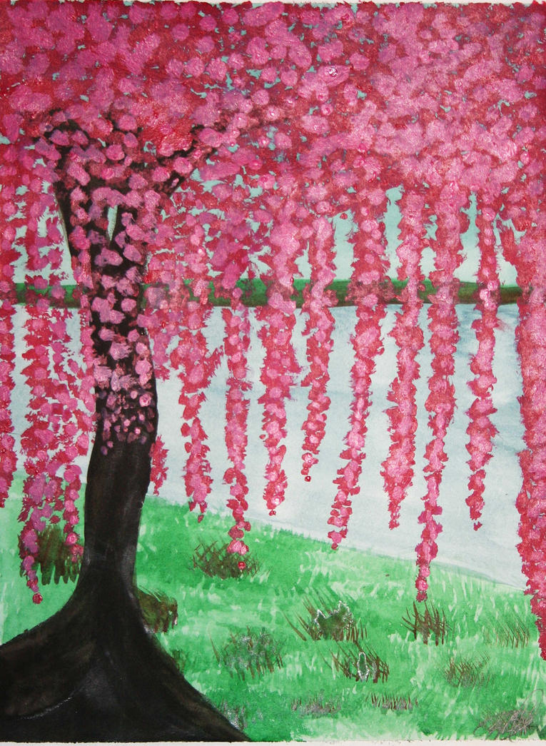 Cherry blossom tree painting by xxravingpandabearxx on for Cherry blossom mural works