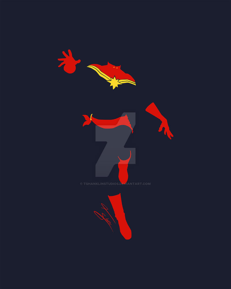 captain marvel minimalist by tshanklinstudios on deviantart