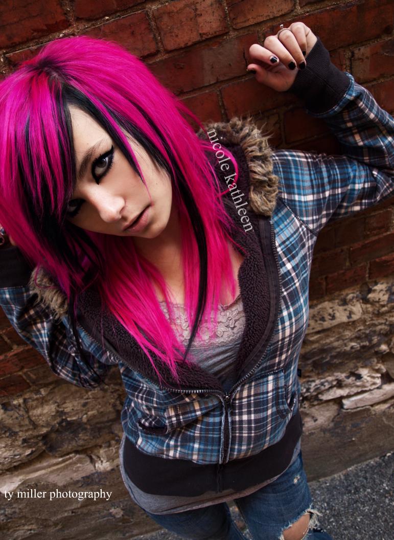 Pink And Black Hair Equinox by nicole-x-ka...