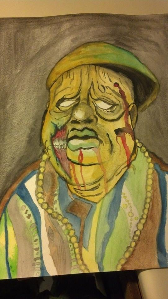 Zombie Notorious BIG Painting LEO Designs By Realnarleydude