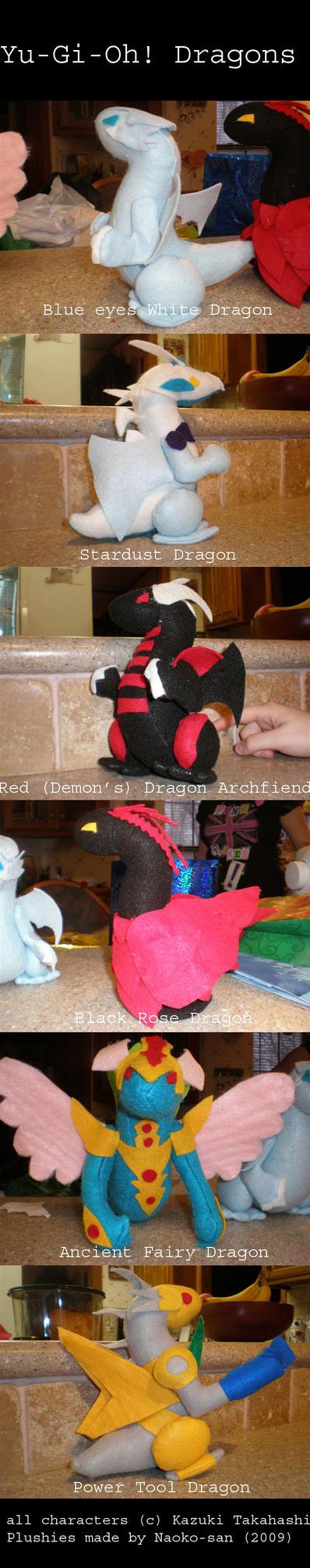 Yu-Gi-Oh Dragon Plushies by Darling-Poe
