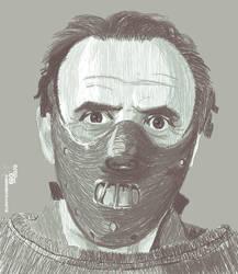 Hannibal Lecter dibujo digital by elroyguerrero