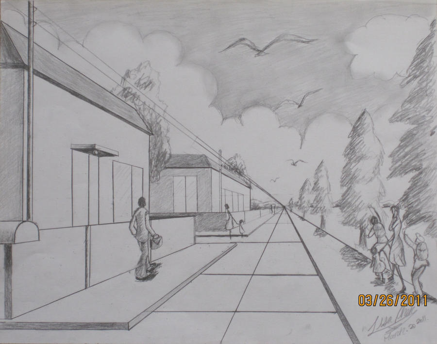 one point perspective-street d by Merryeve on DeviantArt