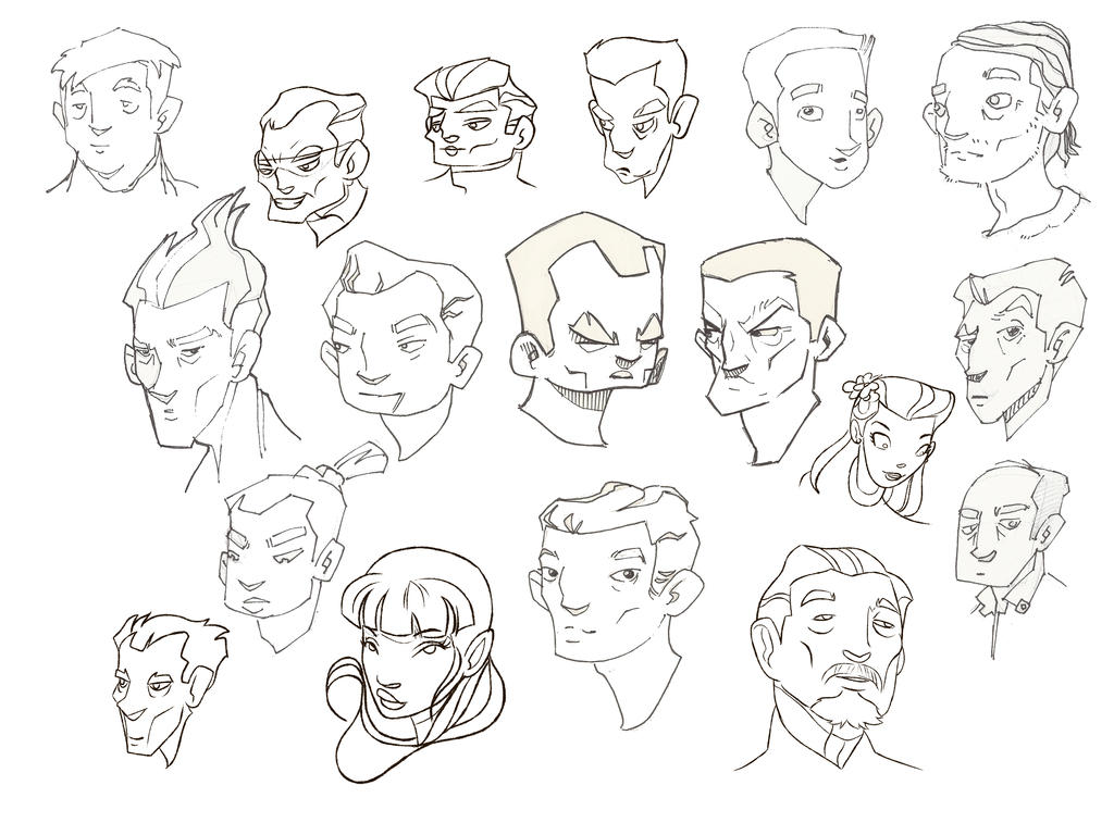 head sketches by atarashiidesu