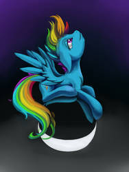 Rainbow Dash on Metal Ball