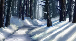 Forest Path (Winter version) by dreamin-Lea