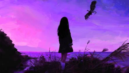 Sunset girl by dreamin-Lea