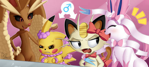 Pikachu and Meowth - Makeover time by DarkyBenji