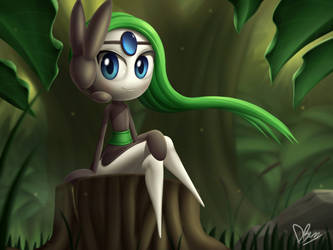 [Redraw] Meloetta in the Forest by DarkyBenji