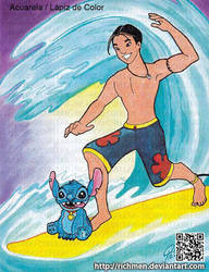 Stitch and David Kawena Surfing by Richmen