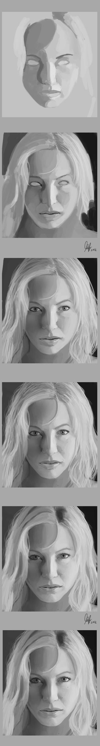 Monochrome face progress by ienkub