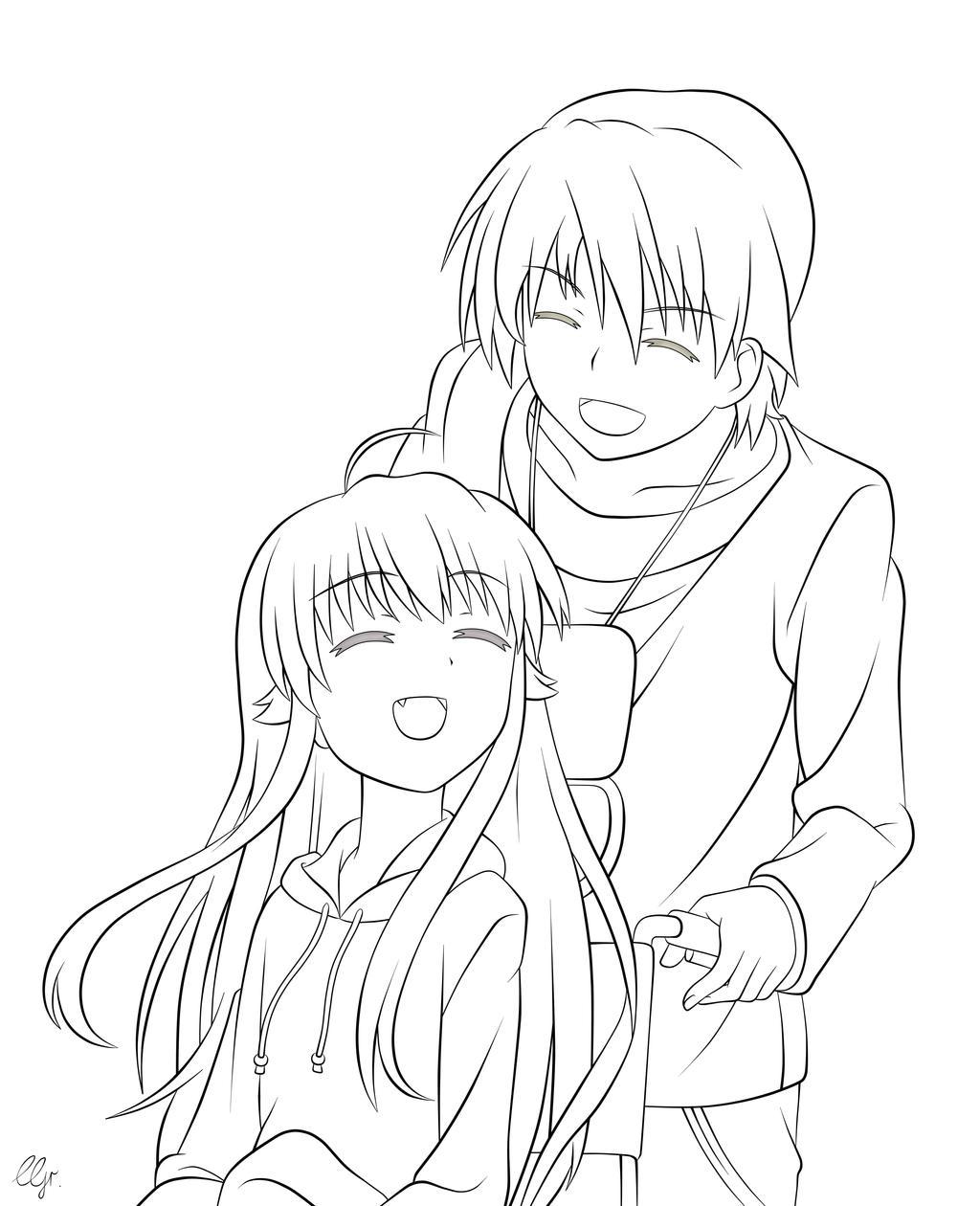 Yui And Hinata Angel Beats Angel Beats Hinata x Y...