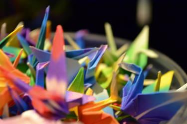 Origami Rainbow Cranes by PetPet310-Niwa-Dark
