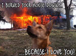 I burned your house down...