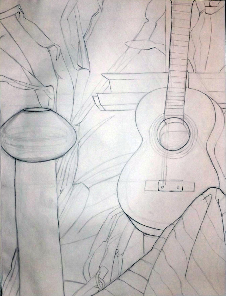 Contour Line Drawing Guitar : Guitar and corn contour drawing by stabebabe on deviantart