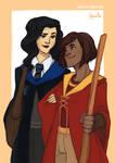 korra + asami - hogwarts AU