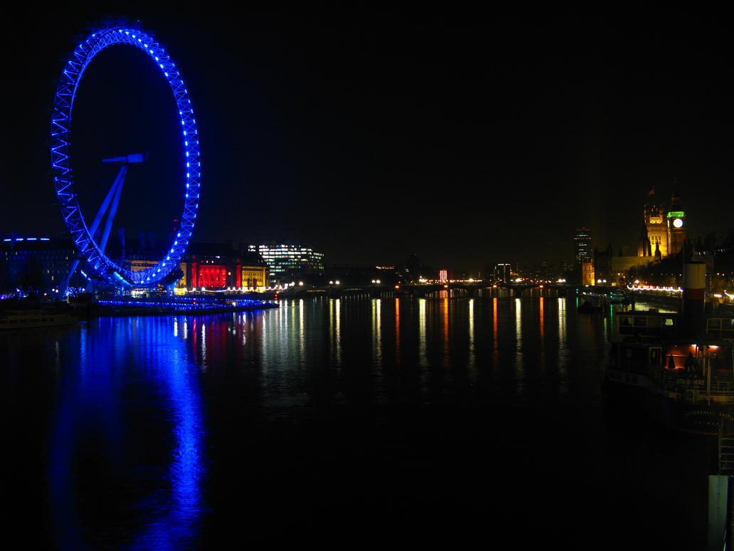 Blue London Eye Big Ben wallpaper