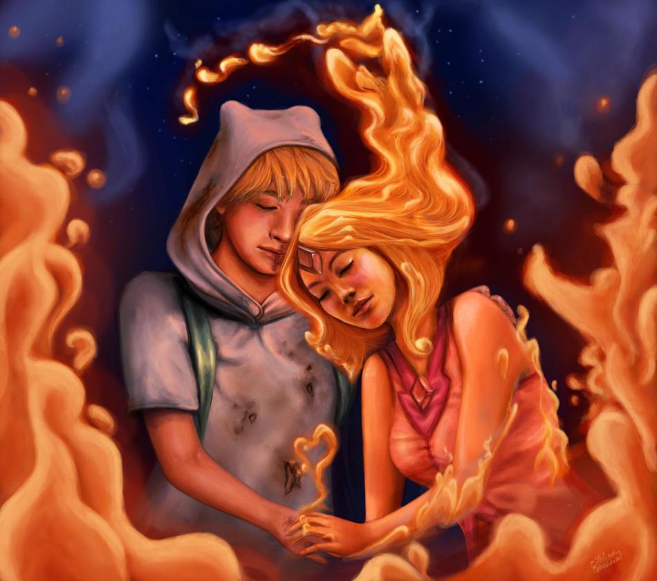 Finn and Flame Princess by Elena-Sky