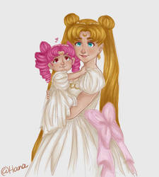 Small lady and Princess Serenity ^^ by Hana-unnie