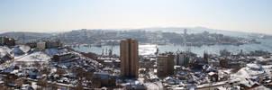 Panorama of winter city
