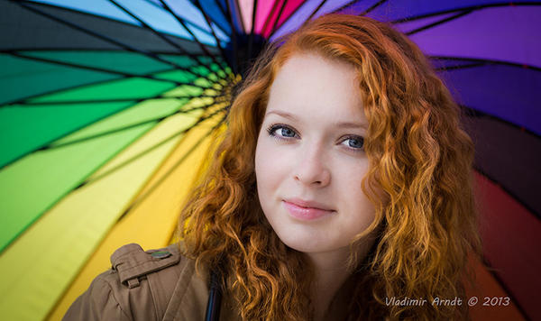 Redhead girl and rainbow by Eevl