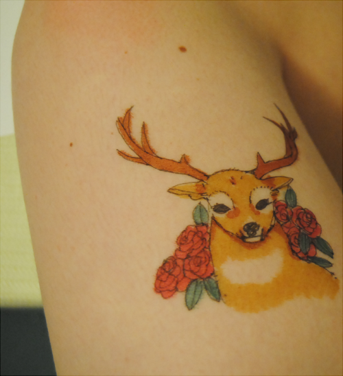 deer tattoo by pinkumiku