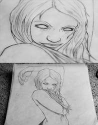 Deadite Zombie Girl Sketch by nixxy