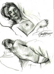 Sketches of sleeping girl by nailone