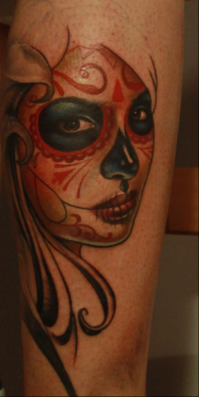 Muerte tattoo in progress