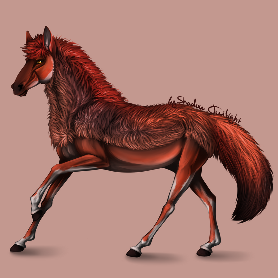 Red wolf horse by Shadow--Twilight