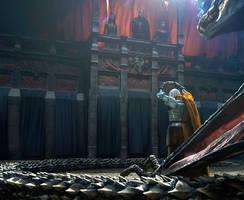 Daemon Targaryen offering his crown