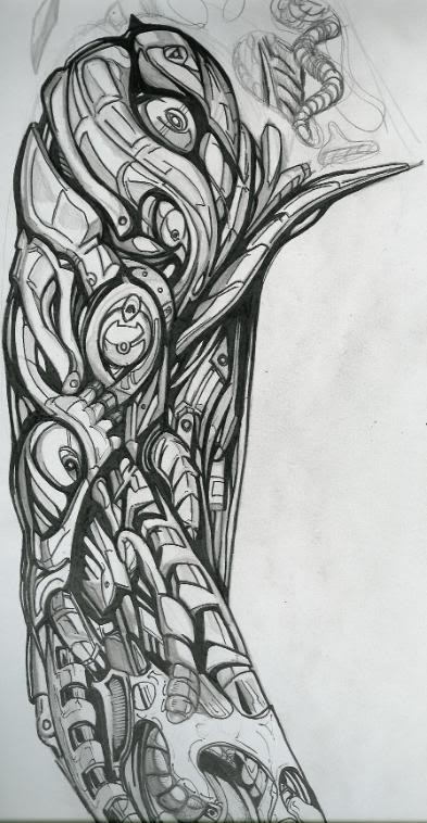 Biomechanical arm drawings for Forearm tattoo sketches