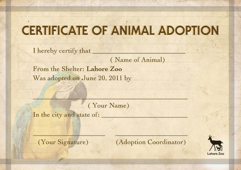 Certificate of animal adoption by aminashoaib on deviantart certificate of animal adoption by aminashoaib yadclub Image collections
