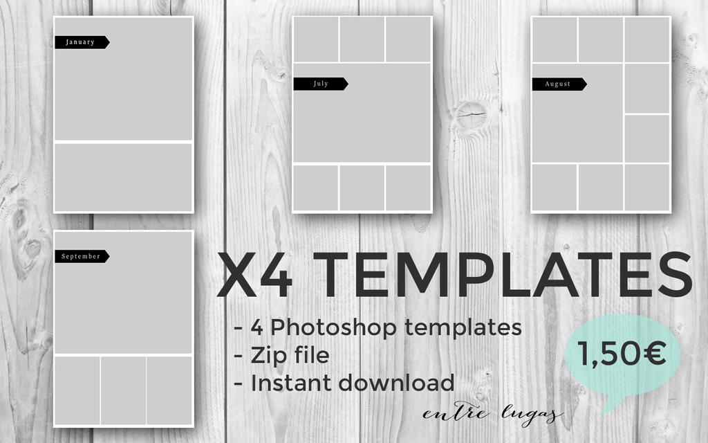 x4 photoshop collage templates by entrelugas