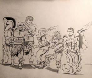 Achillies, Kratos, Hercules w. Ryu, Goku, Superman by MoonmansArtworks