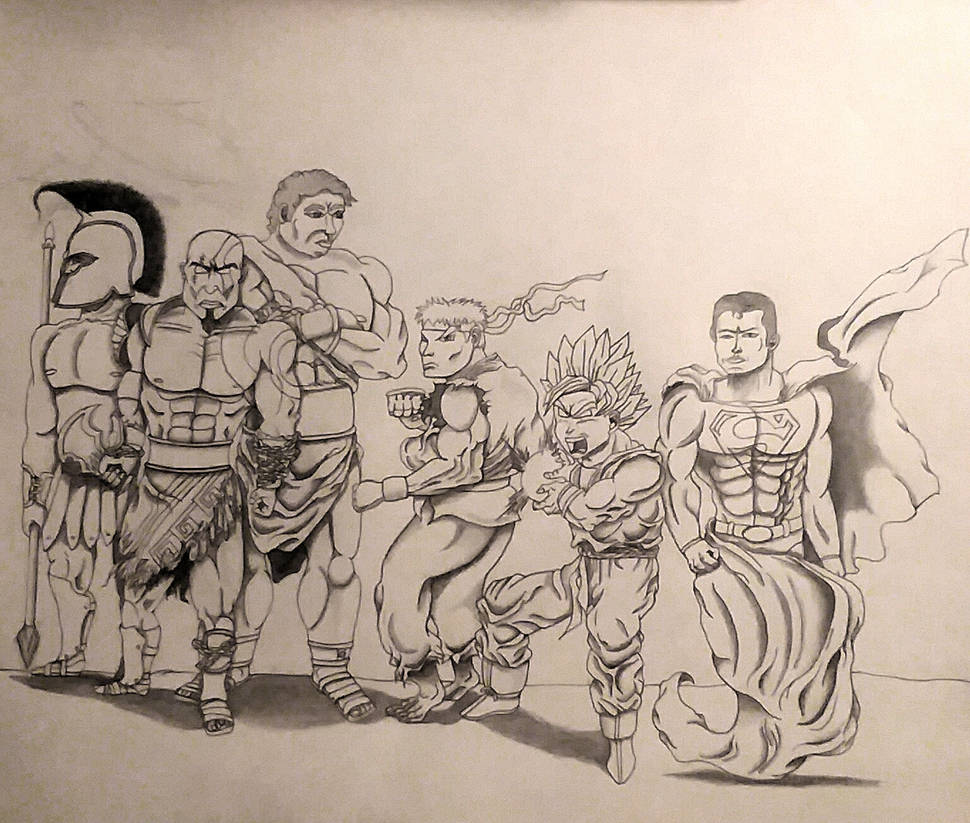 Achillies, Kratos, Hercules w  Ryu, Goku, Superman by