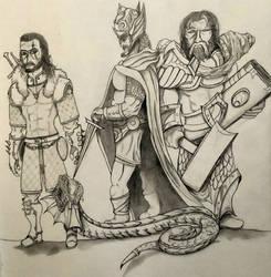 Gerald of Rivia, Talos Stormcrown, Uther Lightbrin by MoonmansArtworks