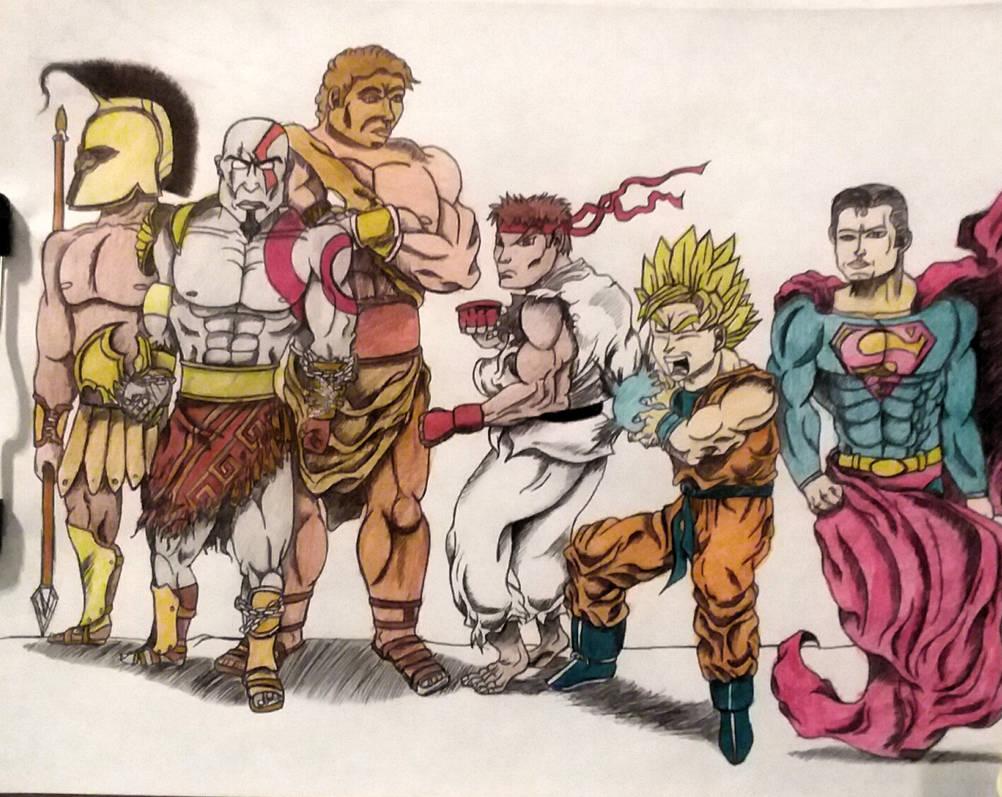 Achillies, Kratos, Hercules + Ryu, Goku, Superman by MoonmansArtworks