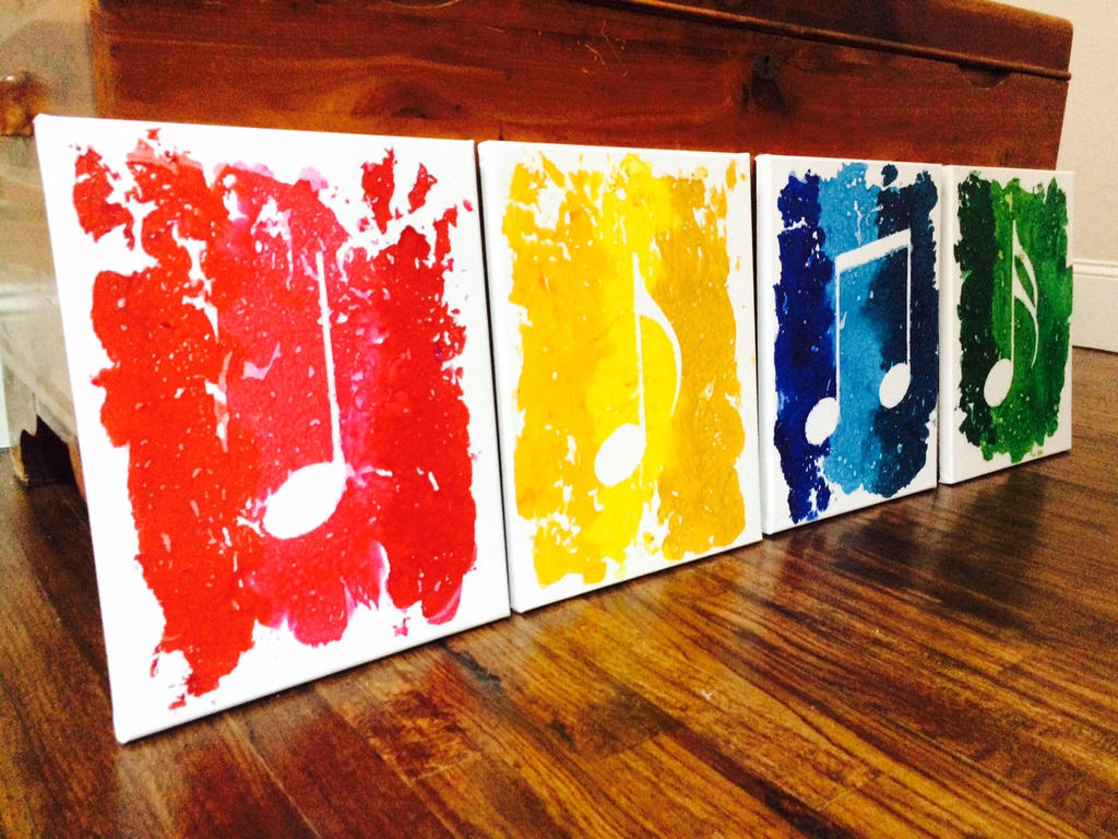 4 Piece Music Notes Made with Melted Crayons by RockYourWalls on ...