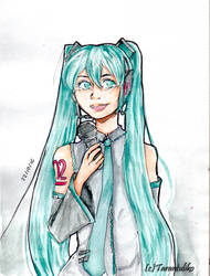 Hatsune Miku watercolor by TarantulikoSM