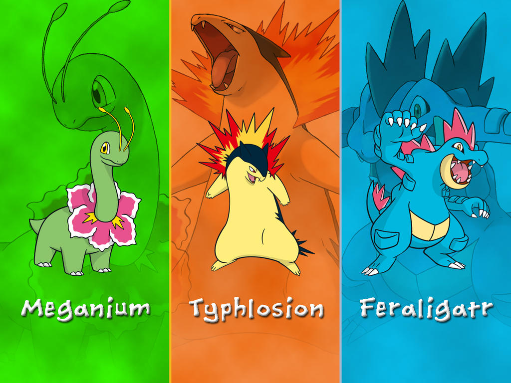 Pokemon Johto Starters Wallpaper By Darkgreiga On Deviantart