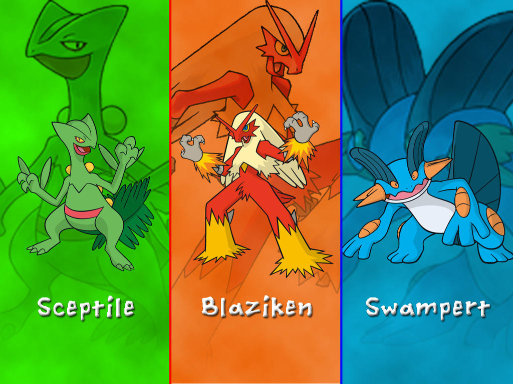 Pokemon Hoenn Starters Wallpaper by DarkGreiga on DeviantArt