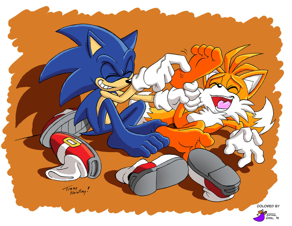 Sonic and Tails tickle by SorcererLance