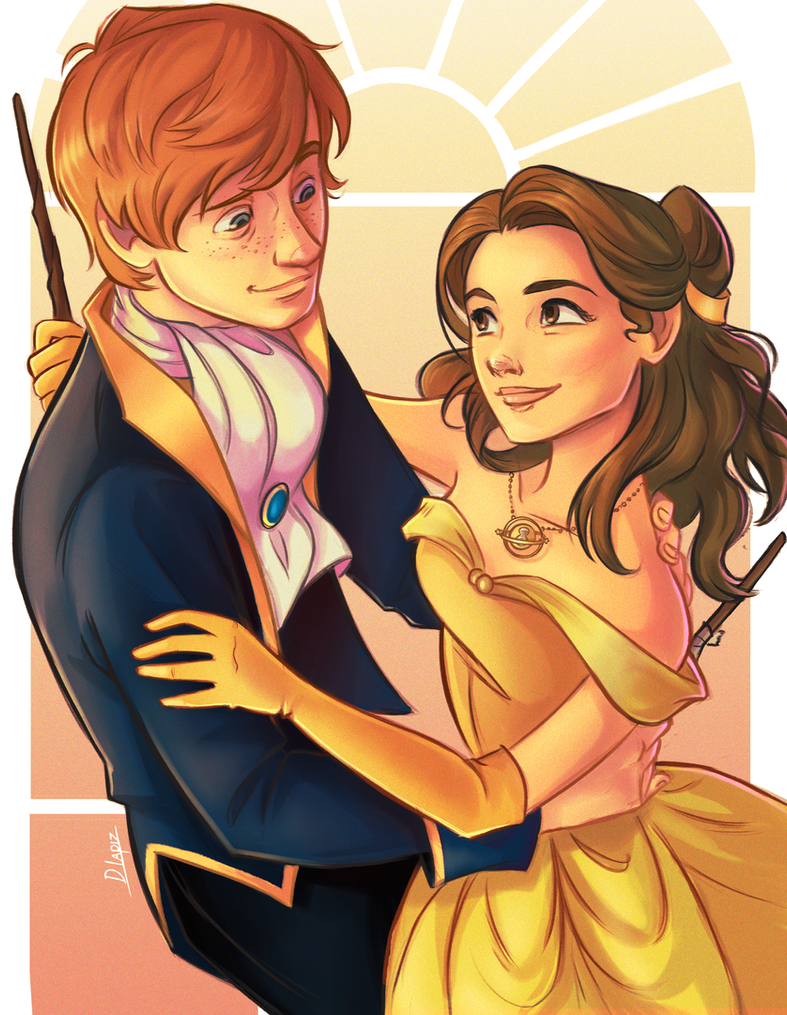 Ron and Hermione in a Disney universe by DLapiz