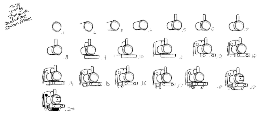 How to draw a steam train by Danishinterloper656 on DeviantArt How To Draw A Train For Kids Step By Step