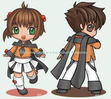 Chibi 01 - Sakura and Syaoran by Fennix