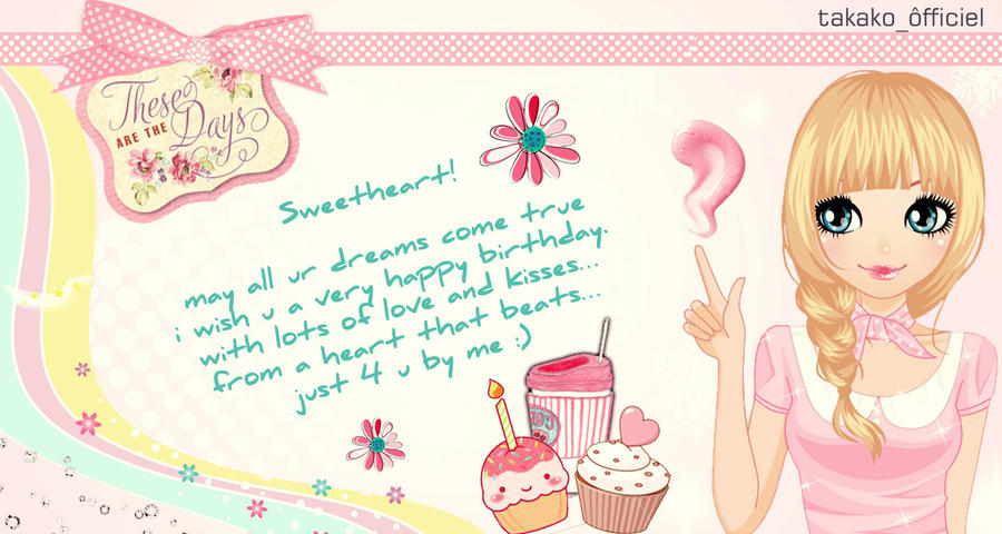 Cute birthday card by takakoinwonderland