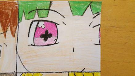 Purple eye w/ green hair by Jondrehei
