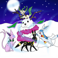 Commission - Building a Snow-Eevee