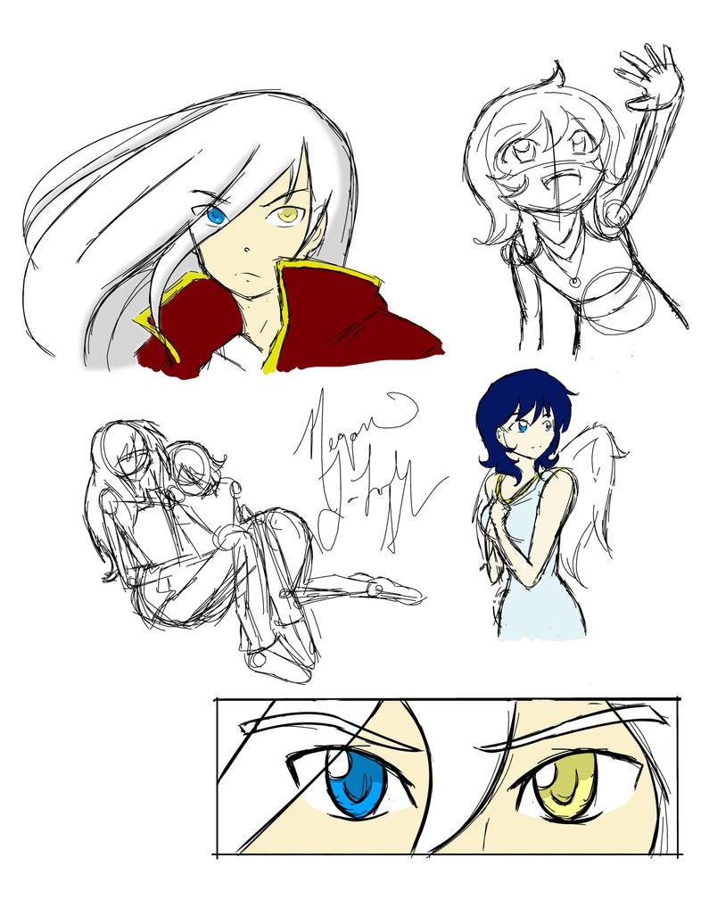 Broken Wings Sketch Dump by ChihayatheBlackAngel
